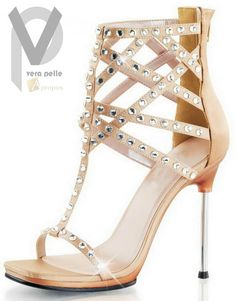 High Heel Sandale 10,4cm Damen Strass Flats Elegant  Strass Beige Apropos