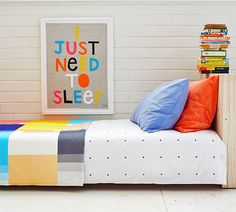 Pegboard Sheets, Colour Patch Throw and Pillowcases by Rachel Castle