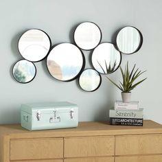 miroirs ronds en mtal noir 121 x 66 cm maisons du monde