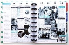 black & blue memory planning layout in The Happy Planner™ of mambi Design Team member Theresa Doan   me & my BIG ideas