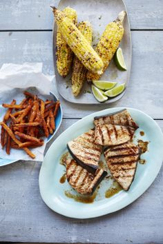 Chili-Lime Swordfish and Grilled Corn 451cal/serving, recipe serves 4