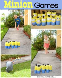 Looking for games for a Despicable Me or Minion themed Birthday Party? How about just some general Minion mayhem for any day? These easy to make pool noodle Minions are perfect for all sorts of games and fun. Minion Games Nerf and Bowling. SunshineandHurricanes.com