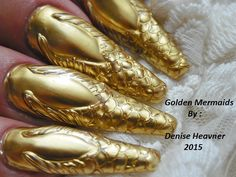Golden Mermaid Tails .....find me on YouTube ....my channel name is Denisejohn65 and there is a tutorial for these nails there .