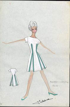 """Costume design for How to Succeed in Business without Really Trying, 1967. """"Smitty"""" design by Micheline, Papers of David Swift, University of Iowa Special Collections & University Archives.    Papers of David Swift Finding Aid: www.lib.uiowa.edu/spec-coll/Msc/ToMsc150/MsC125/MsC125.htm"""