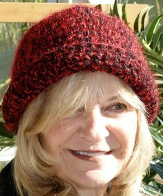 Red Black Crochet Woman Winter Hat  Handmade Hat by hatsbyanne1942, $45.00