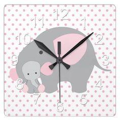 Beautiful Baby Girl Pink Elephant Square Wall Clock
