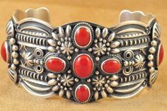 ~ Handmade Navajo Sterling Silver Cuff Bracelet with Oxblood Coral ~ | by Darrell Cadman | ebay.com