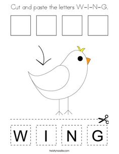 Cut and paste the letters W-I-N-G Coloring Page - Twisty Noodle Ing Words, Letter W, Cool Coloring Pages, Cut And Paste, Kids Prints, Learning Centers, Sight Words, Cursive, School Fun