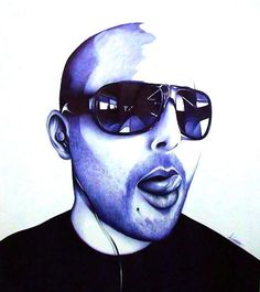 Blue Bic pen drawing by Anthony Caserio...truly talented!!