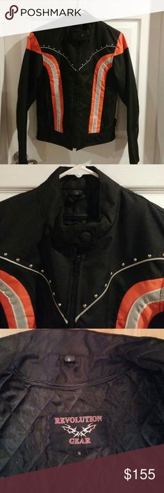 Motorcycle Riding Jacket, SMALL New With No Tags, Zip Out Lining, Scotchlite 3M Material, Reflector Stripes, Orange with Silver on Black. Zipper Cuffs  Designed for Safety and Style. Revolution Gear Jackets & Coats Utility Jackets