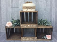 Love is sweet with this personalized wooden crate cupcake stand. The versatile display is perfect for every rustic wedding ~ showcase cupcakes, favors, and more. Crate display is handcrafted of three genuine pine wood crates and customized to match your event theme. Display holds