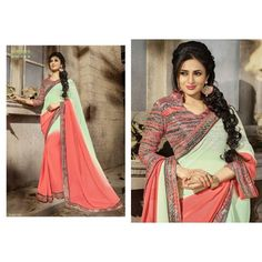 Gorgeous work wear peach and light green printed saree