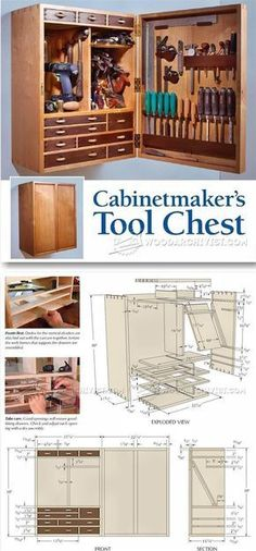 Tool Storage Cabinet Plans - Workshop Solutions Projects, Tips and Tricks | WoodArchivist.com #WoodworkingProjects