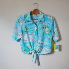 Vintage 80s Shirt Tropical Print Shirt Button up Crop Top Shirt Nautical Shirt Florida Vacation Shirt Size Medium New With Tags