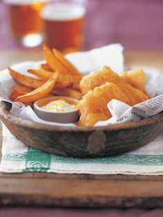 "Fish-and-chips: Nothing says ""Irish pub"" like the classic fish-and-chips. This recipe is made even more special with a lemon aioli that's super-easy (and super-yummy!)."