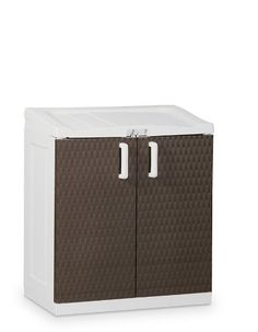 TOOMAX 102 x 90 x 54cm Rattan Line Extra Large Storage Unit with Lid/ 2 Doors - Milk White/Brown