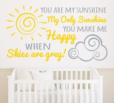 This cute You are my sunshine wall sticker is perfect for the nursery or play room. The wall sticker is available as a one or two colour design. Our wall art stickers are precision cut from high quality matt finished ultra-thin vinyl, they look absolutely stunning and appear as though they are painted onto the surface. They come in a variety of colours & sizes: S - 30cm x 17cm M - 56cm x 30cm L - 74cm x 41cm XL - 100cm x 56cm XXL - 125cm x 70cm 3XL - 160cm x 90cm