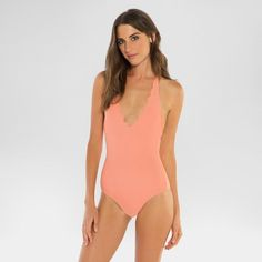 Women's Plunging Halter Scallop One Piece Swimsuit - Vanilla Beach - Maui Coral