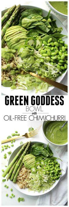 Green Goddess Bowl with Oil Free Chimichurri | ThisSavoryVegan.com