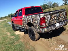 Gotta love the way Mossy Oak camo looks on Ram Trucks!   The Break-Up rocker panels, bumper kit, and accent wraps from Mossy Oak Graphics really set this truck apart from the rest.