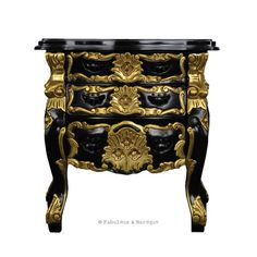 Fabulous & Rococo Side Table - Black & Gold