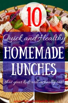 10 Quick and Healthy Lunches for School or Work Healthy Meals your kids will like - List of easy lunches to pack for school - healthy school day lunches simple lunches to pack for work Family Meals, Kids Meals, Easy Meals, Gourmet Recipes, Healthy Recipes, Healthy Meals, Healthy Smoothies, Easy Recipes, Dinner Recipes