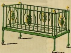 """Strong iron crib, ornamented"""" for a Victorian baby"""