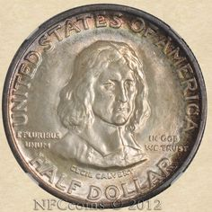 1934 Maryland Commemorative Half NGC, obverse -- I need to get one of these, Gold And Silver Coins, Commemorative Coins, World Coins, Rare Coins, Coin Collecting, Maryland, Saving Money, Boxes, Mint