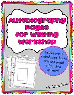 FREE printable pages (table of contents, poems, timelines, memories, and more) for writing autobiographies with your class from Ms. Fultz's Corner.