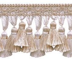 "5 Yard Value Pack of Ivory, Sand 3 3/4"" Imperial II Tassel Fringe Style# TFI2 Color: SEASHELL - 5055 (15 Ft / 4.5 Meters)"