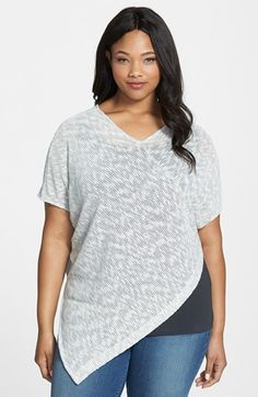 Two+by+Vince+Camuto+Waffle+Knit+V-Neck+Poncho+(Plus+Size)+available+at+#Nordstrom