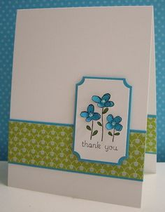 Turquoise Flowers - CAS176 by Loll Thompson - Cards and Paper Crafts at Splitcoaststampers