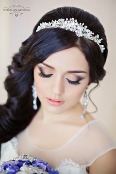 crystal bridal headbands for long wedding hairstyles