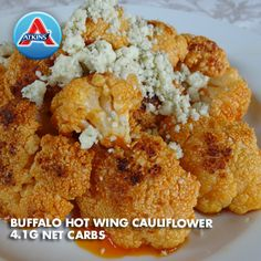 Add some spice to your side dish! Sauté roasted cauliflower with hot wing sauce and siracha, then top with blue cheese. (All Phases)