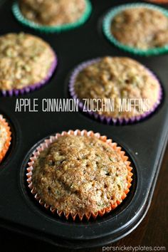 Apple Cinnamon Zucchini Muffins are full of fruits and veggies so you can eat 6 of them & not feel guilty. Or maybe that's just me. | Persnickety Plates