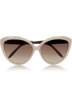 Linda Farrow Cat eye elaphe-trimmed acetate sunglasses