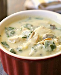 Try this delicious, creamy chicken & spinach soup, that uses cauliflower cream sauce so it's dairy free, Paleo and low carb too!