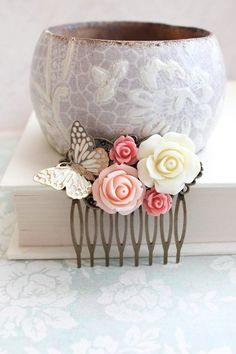 Bridal Hair Comb Romantic Gold Wedding Hair Accessories Butterfly Floral Collage Comb Country Chic Blush Pink Rose Quartz Bridesmaids Gift - Hairstyles For All Bridesmaid Hair Accessories, Gold Hair Accessories, Side Curls Hairstyles, Wedding Hairstyles, Bridesmaid Hair Half Up, Bridesmaid Gifts, Bridesmaids, Pink And Gold Wedding, Bridal Hair