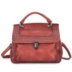051af6a14528 Brown Vintage Leather Purse Handmade Revit Satchel Handbag Shoulder  Crossbody Bags Purses Satchel Handbags, Crossbody
