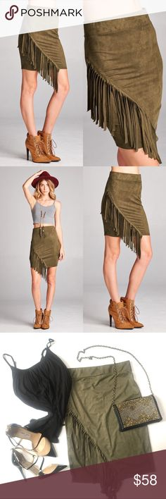 NWT Vegan suede fringe skirt NWT Vegan suede fringe skirt, beautiful olive color. Body con pull-on styling, super soft! Runs small so size up! Bundle 2 or more items & save an extra 15%! Tank top & clutch in photo are both available in my closet (see separate listings). Perfect fall statement piece! Skirts Midi