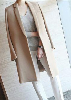 tan coat + grey sweater + white pants