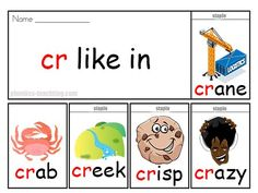 cr words - FREE & Printable - Phonics flip book - Words starting with cr - Great Phonics Practice. Phonics Chart, Phonics Worksheets, Phonics Activities, Phonics Books, Teaching Phonics, English Phonics, Phonics Sounds, Reading Anchor Charts, English Reading