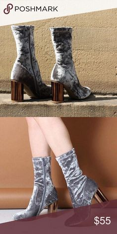 """ELVA MIRRORED HEEL ANKLE BOOTS IN SILVER VELVET Heel Height: 3.4"""" / 9cm Shoe Height: 11.5"""" / 29cm Fabric Composition: Synthetic, Manmade Velvet (never worn will come in original box) smoke free home, always willing to negotiate price through offer button only. ✨ Not Brandy Melville but need the exposure. The shoes are public desire. Brandy Melville Shoes Ankle Boots & Booties"""