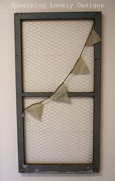 Chicken wire screen paired with a simple garland (that can be switched out for holidays)
