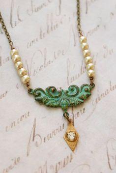 Beth. boho,verdigris,pearl,rhinestone charm necklace. Tiedupmemories