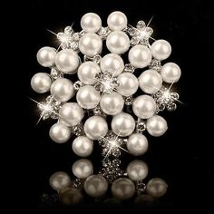 Silver Rhinestone Crystal Wedding Prom Bouquet Flower Faux Pearl Brooch Pin