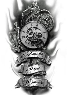 Time conquers all pocket watch tattoos, pocket watch tattoo design, clock tattoo sleeve, Tattoos Skull, Forearm Tattoos, Body Art Tattoos, Tattoo Drawings, I Tattoo, Sleeve Tattoos, Tatoos, Tattoo Quotes, Death Tattoo