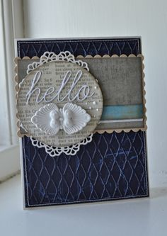 card with scripty words & letters, scripty hello Picturing the World: Hello
