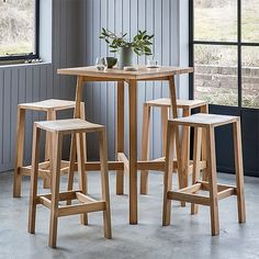 The solid oak Waldorf high table has clean, modern lines, inspired by Nordic design. A modern table for home, cafe or bar. Shop now, have a better tomorrow. Bar Table Sets, Patio Bar Set, Bar Tables, Dining Tables, Dining Sets, Dining Bench, Breakfast Bar Table, Breakfast Nook, Wooden Bar Table