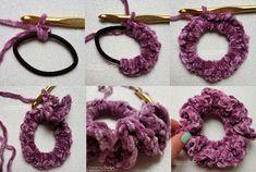 Simple Crochet Hair Scrunchie - Free Crochet Pattern - The Purple Poncho - - A Simple Crochet Hair Scrunchie that is full of ruffles in this easy crochet pattern design! It's made using soft velvet yarn for a luxurious accessory. Crochet Diy, Crochet Simple, Easy Crochet Patterns, Crochet Crafts, Knitting Patterns, Diy Crafts, Simple Crafts, Tutorial Crochet, Tape Crafts